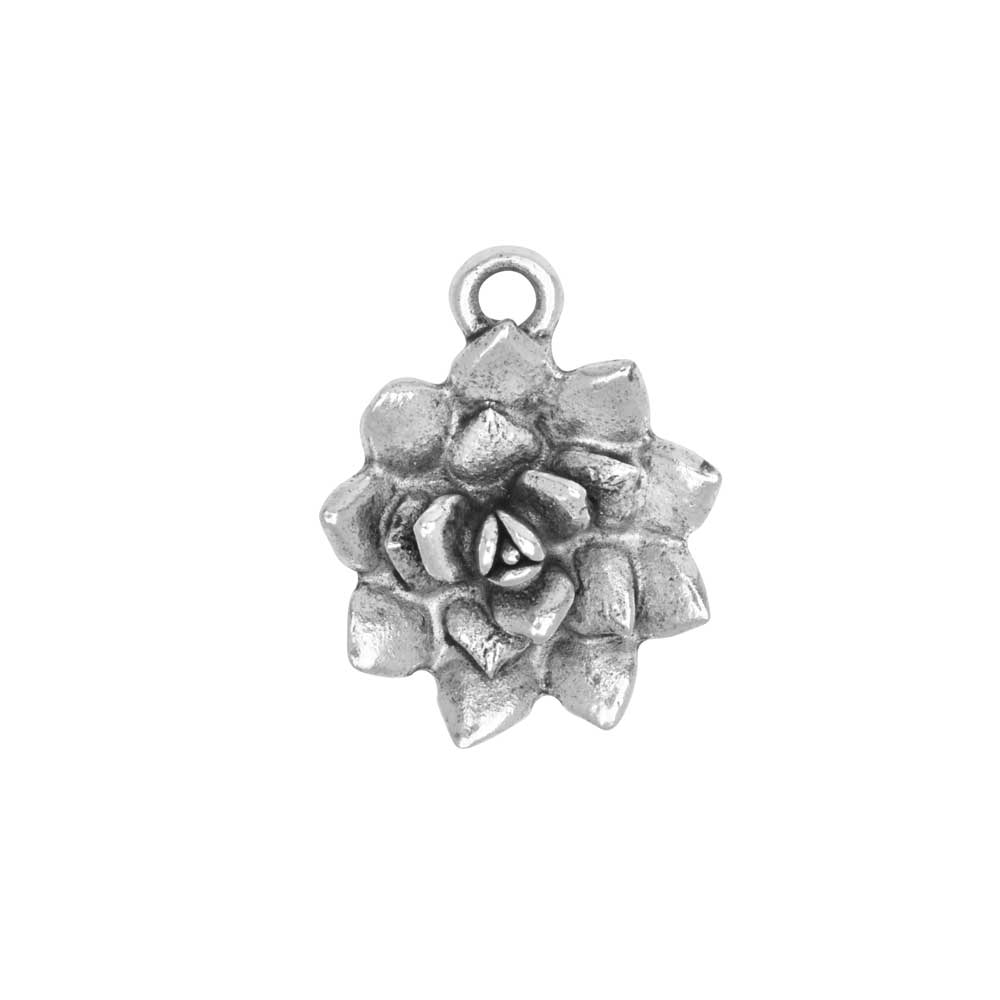 Metal Charm, Succulent 16x25.5mm, Antiqued Silver, 1 Piece, by Nunn Design