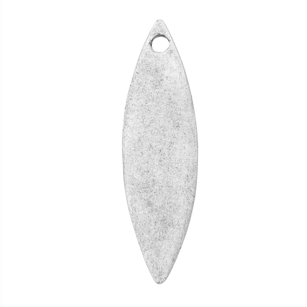 Flat Tag Pendant, Navette 9x30.5mm, Antiqued Silver, 1 Piece, by Nunn Design