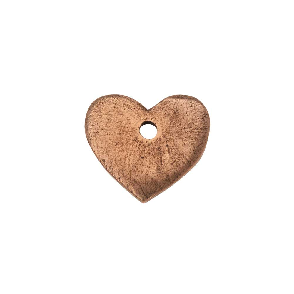 Flat Tag Pendant, Mini Heart 11mm, Antiqued Copper, 1 Piece, by Nunn Design