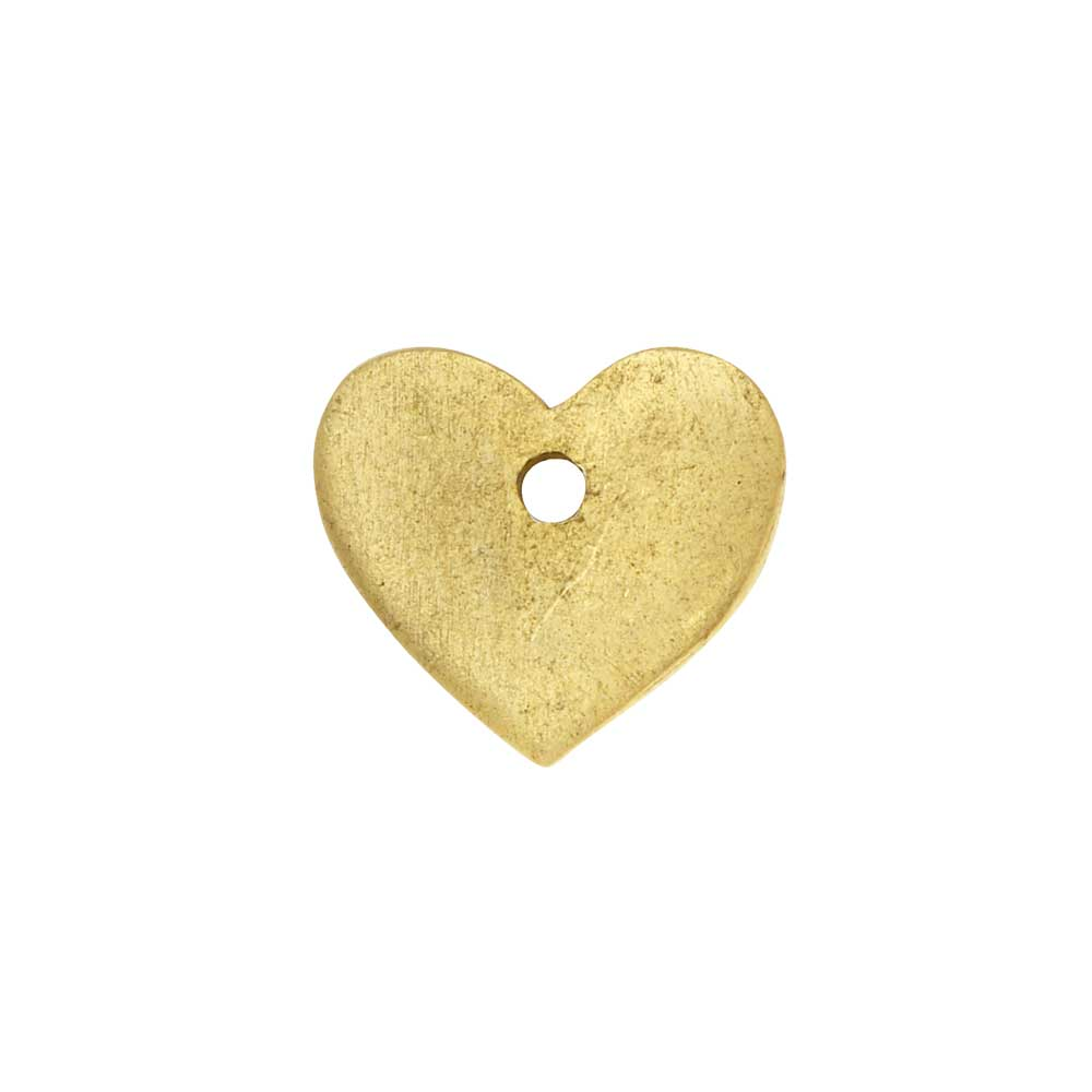 Flat Tag Pendant, Mini Heart 11mm, Antiqued Gold, 1 Piece, by Nunn Design