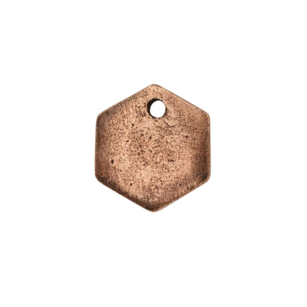 Flat Tag Pendant, Mini Hexagon 12mm, Antiqued Copper, 1 Piece, by Nunn Design