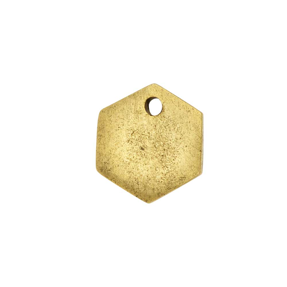 Flat Tag Pendant, Mini Hexagon 12mm, Antiqued Gold, 1 Piece, by Nunn Design