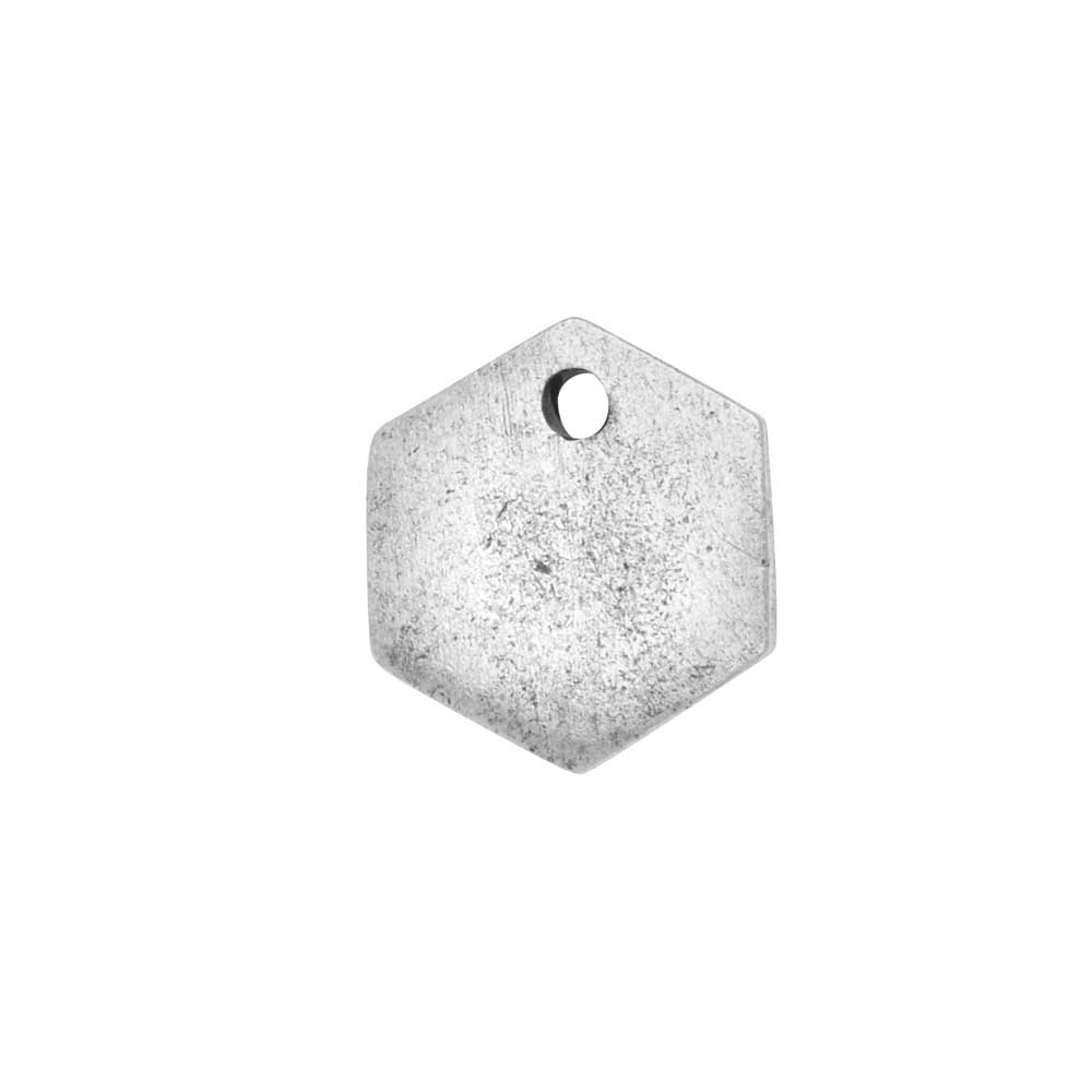 Flat Tag Pendant, Mini Hexagon 12mm, Antiqued Silver, 1 Piece, by Nunn Design