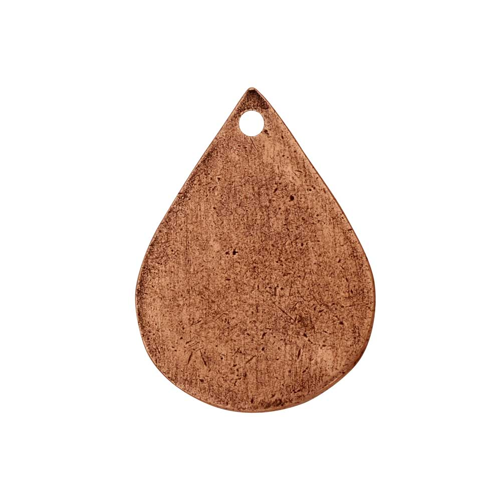 Flat Tag Pendant, Drop 18x25mm, Antiqued Copper, 1 Piece, by Nunn Design
