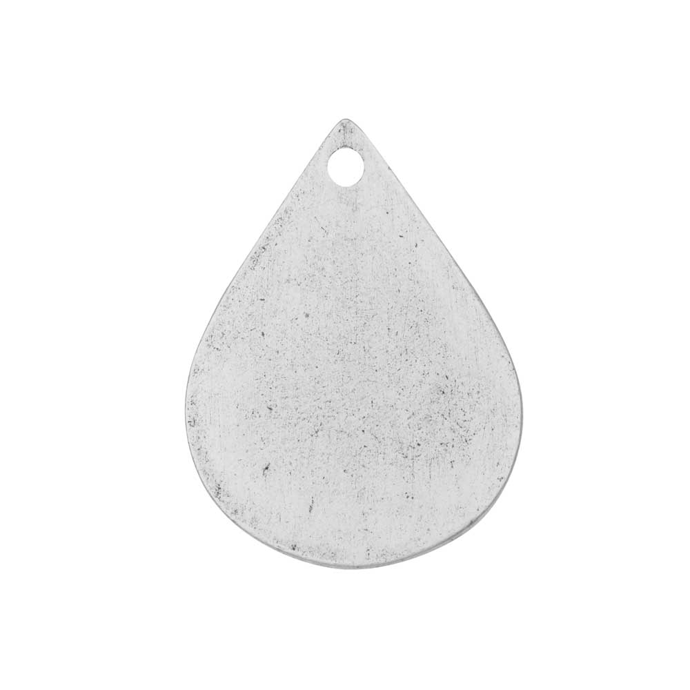 Flat Tag Pendant, Drop 18x25mm, Antiqued Silver, 1 Piece, by Nunn Design