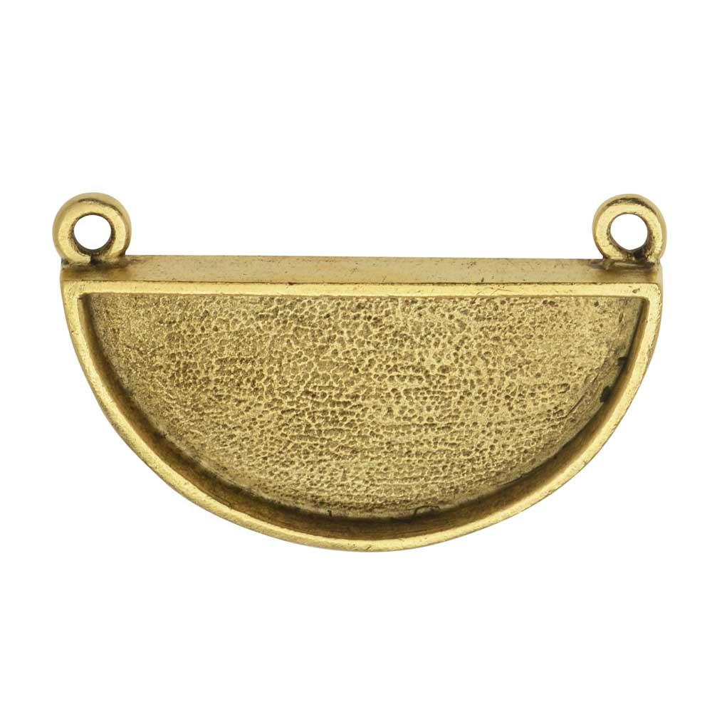 Bezel Pendant, Half-Circle Bezel 16x34mm, Antiqued Gold, 1 Piece, by Nunn Design
