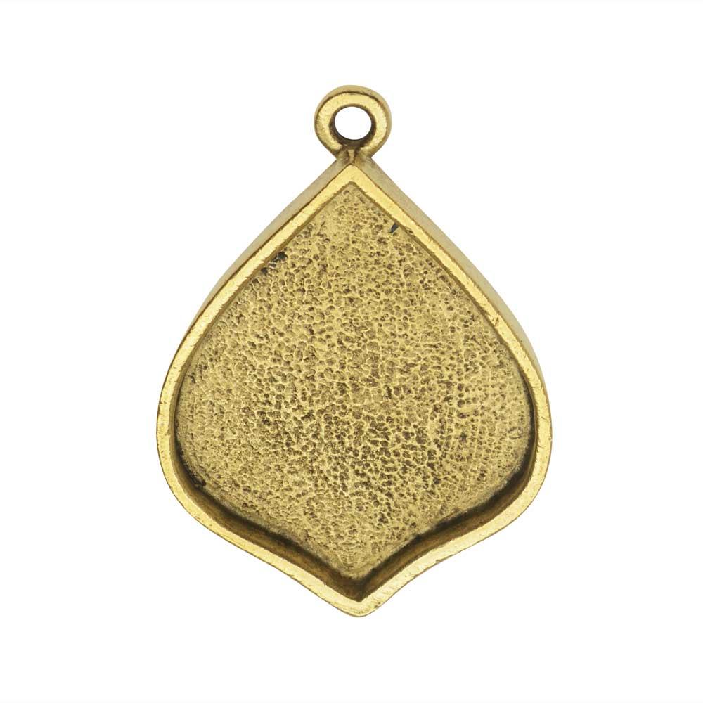 Bezel Pendant, Marrakesh Drop 22x28mm, Antiqued Gold, 1 Piece, by Nunn Design