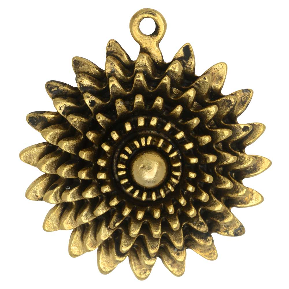 Metal Pendant, Large Daisy Flower 35x39mm, Antiqued Gold, 1 Piece, by Nunn Design