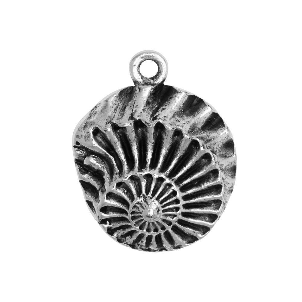Metal Pendant, Nautilus Shell 21x28mm, Antiqued Silver, 1 Piece, by Nunn Design