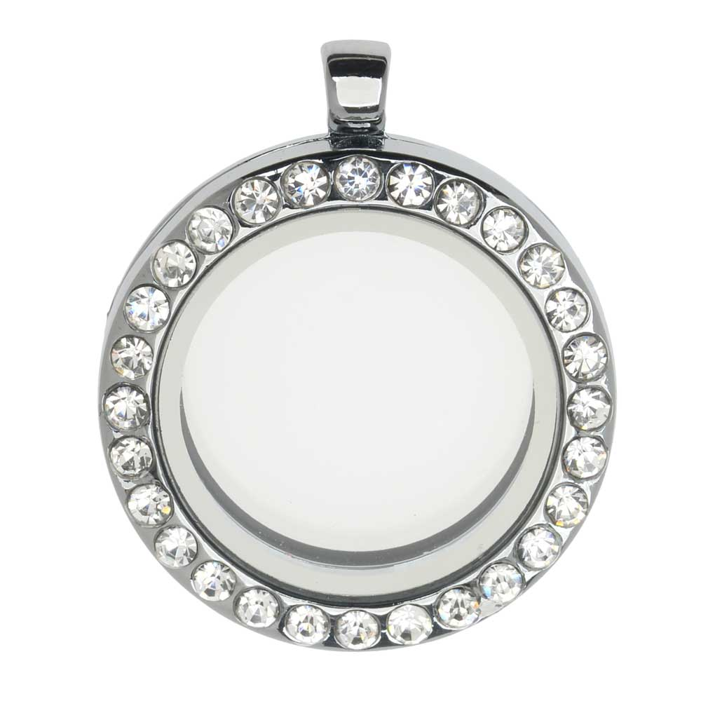 Floating Locket Pendant, Round with Glass Window and Crystals 30mm, 1 Piece, Silver Plated