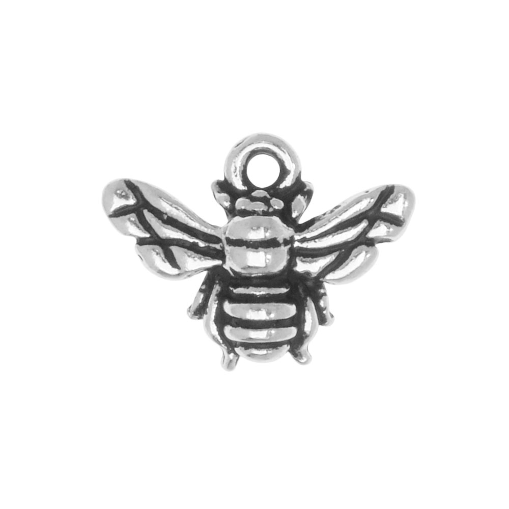 Metal Charm, Honey Bee 12mm, 1 Piece, Antiqued Silver Plated, By TierraCast