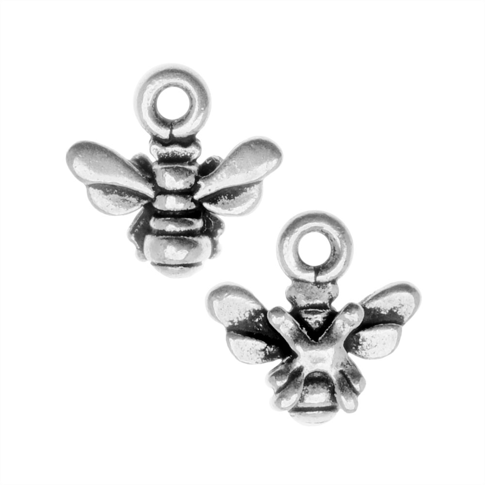 Metal Charm, Honey Bee 11mm, 2 Pieces, Antiqued Silver Plated, By TierraCast