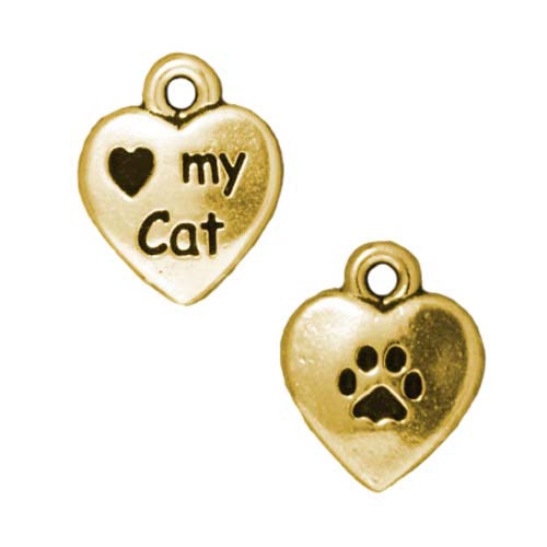 Pewter Charm, 2-Sided Heart My Cat / Paw Print 12mm, 1 Piece, Antiqued Gold, By TierraCast