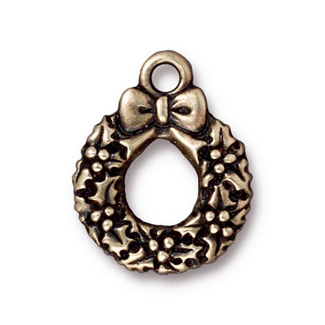 TierraCast Brass Oxide Finish Lead-Free Pewter Charm Wreath With Bow 20.5mm (1)