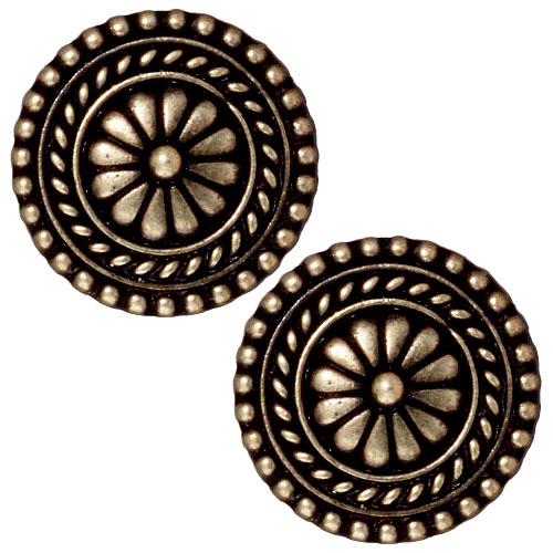 TierraCast Brass Oxide Finish Lead-Free Pewter Bali Style Button 18mm (2)