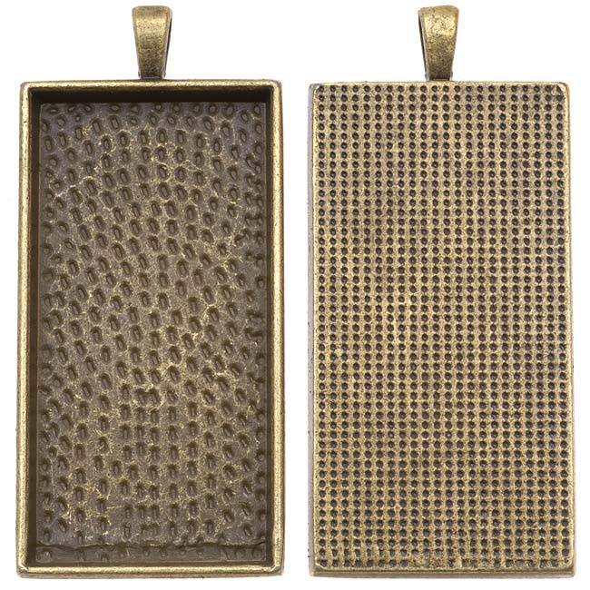 Antiqued Brass Color Rectangle Bezel Pendant 24mm X 48mm (1)