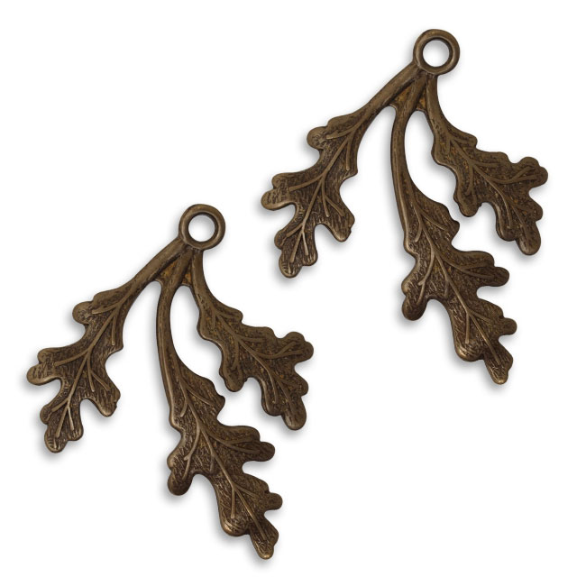 Vintaj Natural Brass Fastenable Oak Frond Pendants 35mm (2)