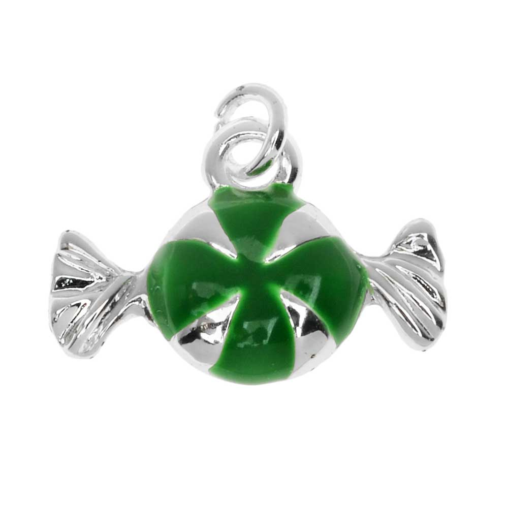Silver Plated Enamel Charm Green Peppermint Candy 16mm (1)