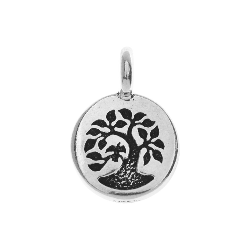 TierraCast Pewter Charm, Round Tree with Bird 17x12mm, 1 Piece, Antiqued Silver Plated