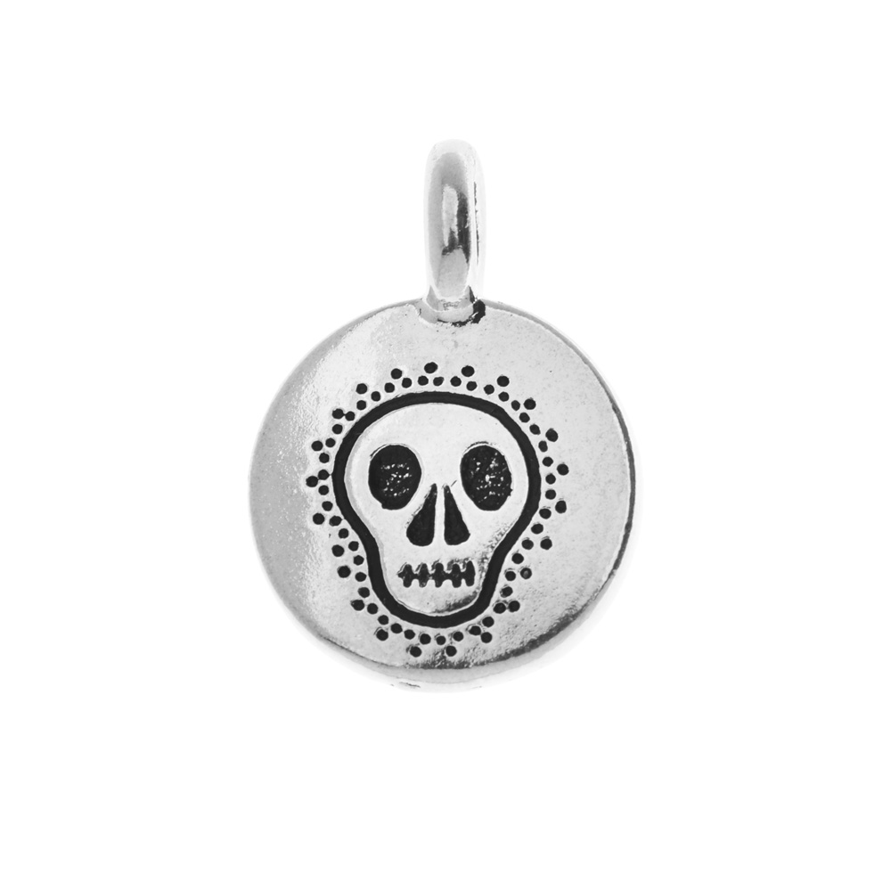 TierraCast Pewter Charm, Dia De Los Muertos Skull 17x12mm, 1 Piece, Antiqued Silver Plated