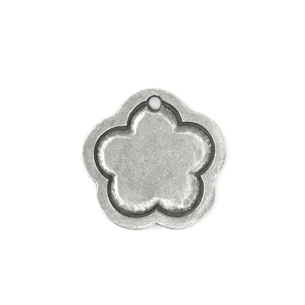 Final Sale - ImpressArt Soft Strike Stamping Blank, 15/16 Inch Flower Pendant with 2mm Border, 1 Piece, Pewter