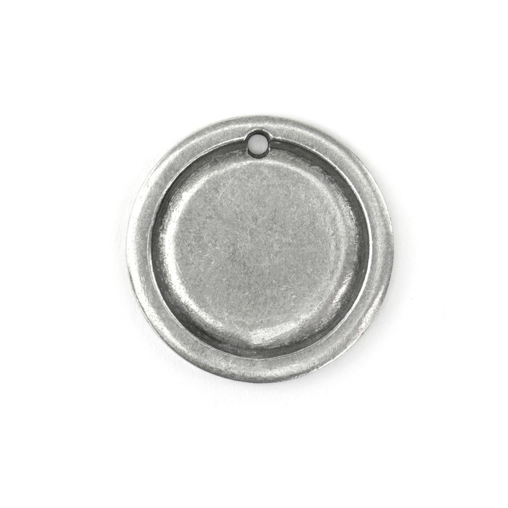 ImpressArt Soft Strike Stamping Blank, 1-1/16 Inch Circle Pendant with 2mm Border, 1 Piece, Pewter