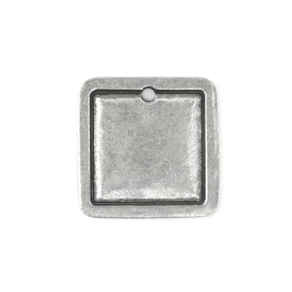 Final Sale - ImpressArt Soft Strike Stamping Blank, 1 Inch Square Pendant with 2mm Border, 1 Piece, Pewter
