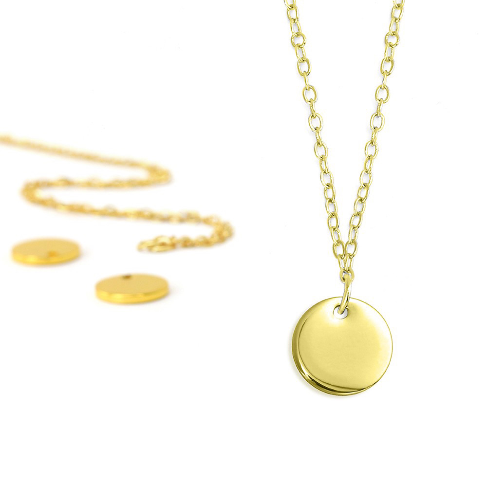 Final Sale - ImpressArt Metal Stamping Kit, 18 Inch Necklace w/ 10mm Circle Blank Pendant, 5 Sets, Gold
