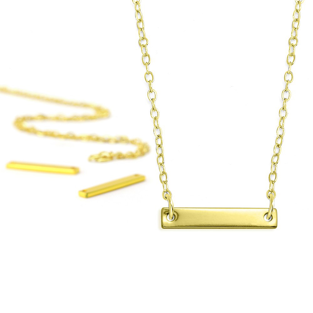 Final Sale - ImpressArt Metal Stamping Kit,  18 Inch Necklace w/ 20mm Rectangle Blank Pendant, 5 Sets, Gold