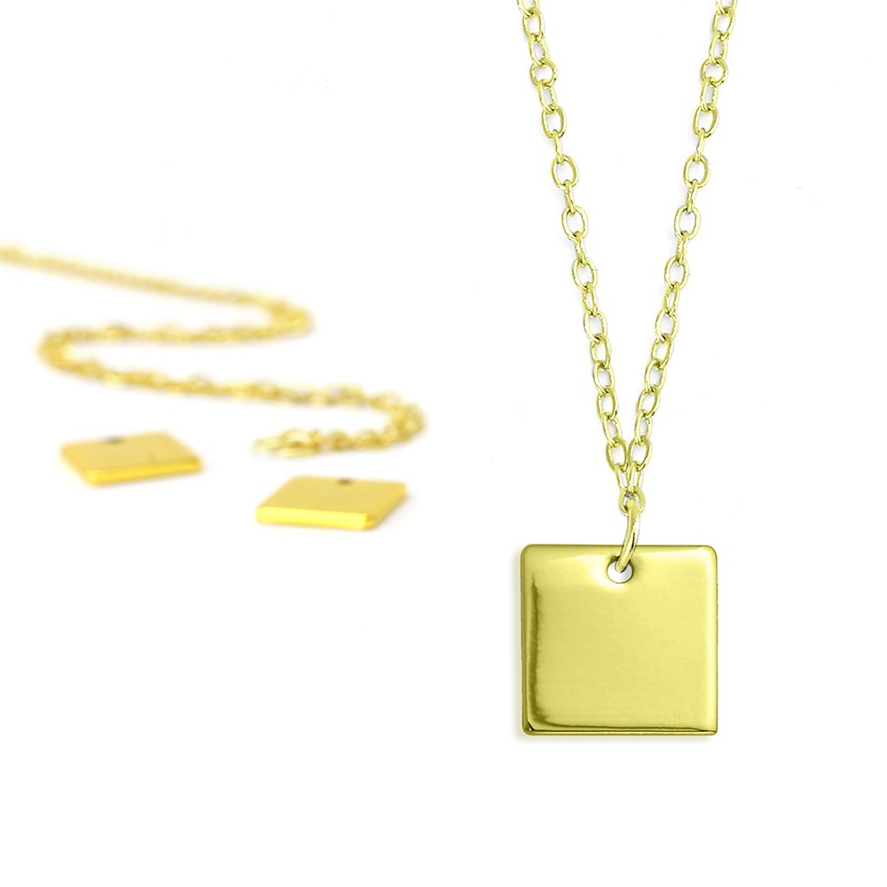 Final Sale - ImpressArt Metal Stamping Kit, 18 Inch Necklace w/ 11mm Square Blank Pendant, 5 Sets, Gold