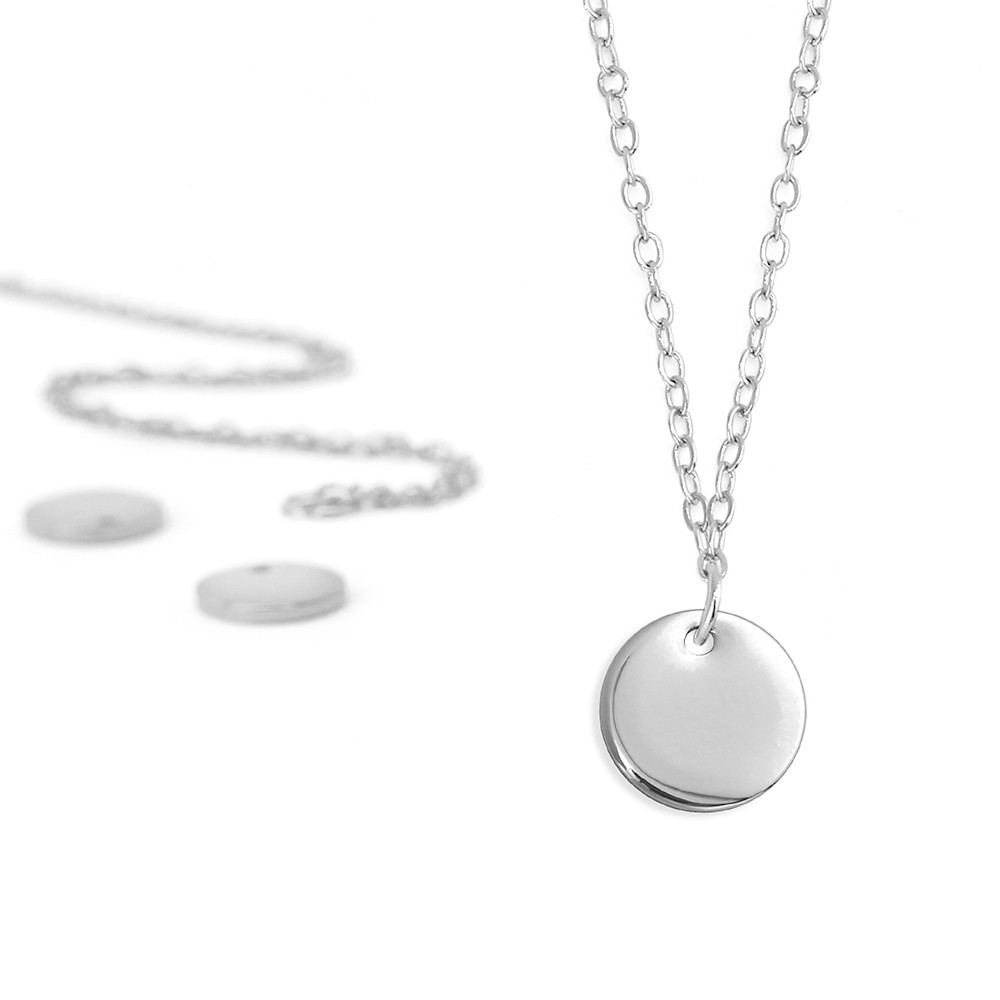 ImpressArt Metal Stamping Kit, 18 Inch Necklace w/ 10mm Circle Blank Pendant, 5 Sets, Silver