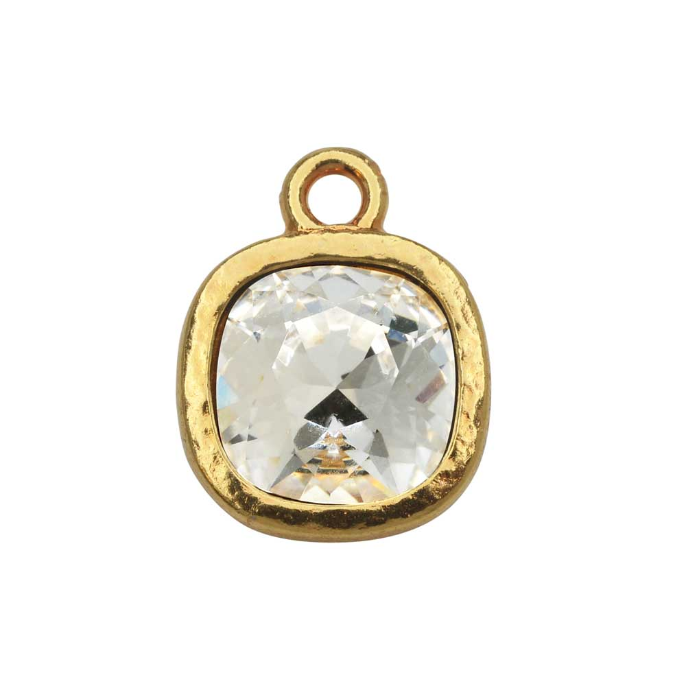 TierraCast Pewter Frame Pendant, with 10mm Swarovski Crystal Cushion, 1 Piece, Bright Gold Plated