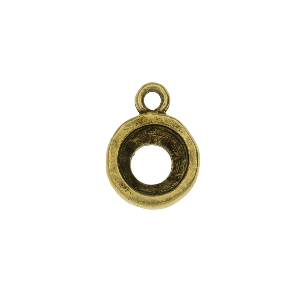 Nunn Design Open Back Bezel Charm, Circle Fits SS39 Xirius Stone, 1 Piece, Antiqued Gold