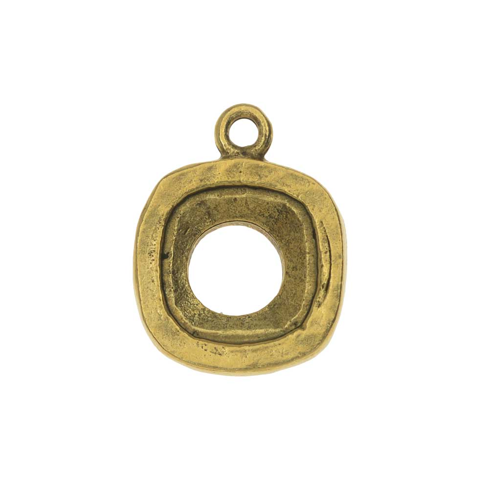 Nunn Design Open Back Bezel Charm, Fits #4470 Cushion Fancy Stone 12mm, 1 Piece, Antiqued Gold