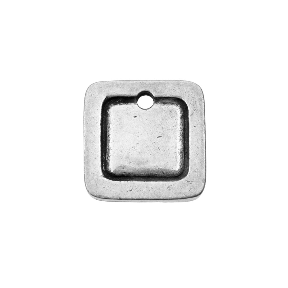 ImpressArt Soft Strike Stamping Blanks, 12.7mm Square Charm with 2mm Border, 1 Piece, Pewter
