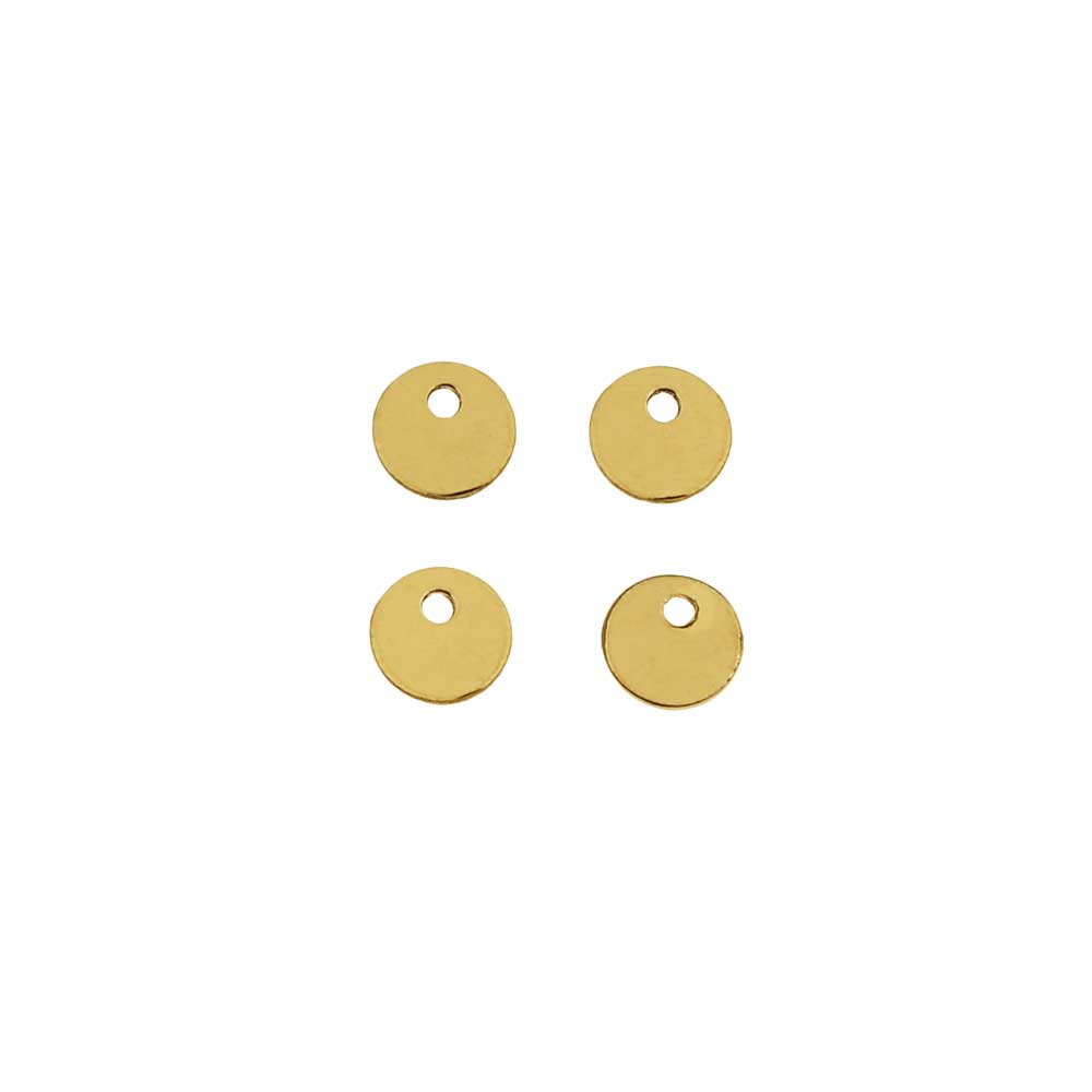 14K Gold Filled Charm, Round Disc Pendant Blank 4mm Diameter, 4 Pieces