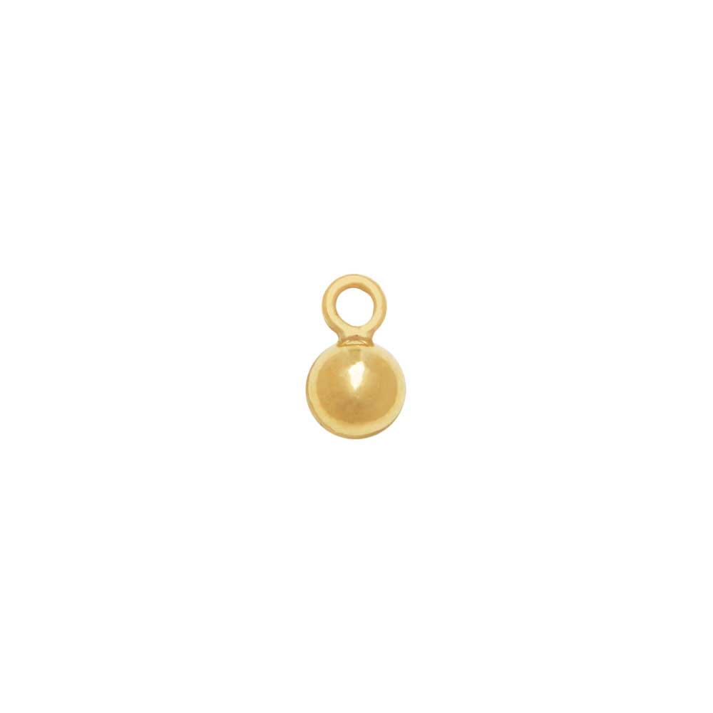 14K Gold Filled Charm, Round Ball Drop with Loop 3mm, 2 Pieces