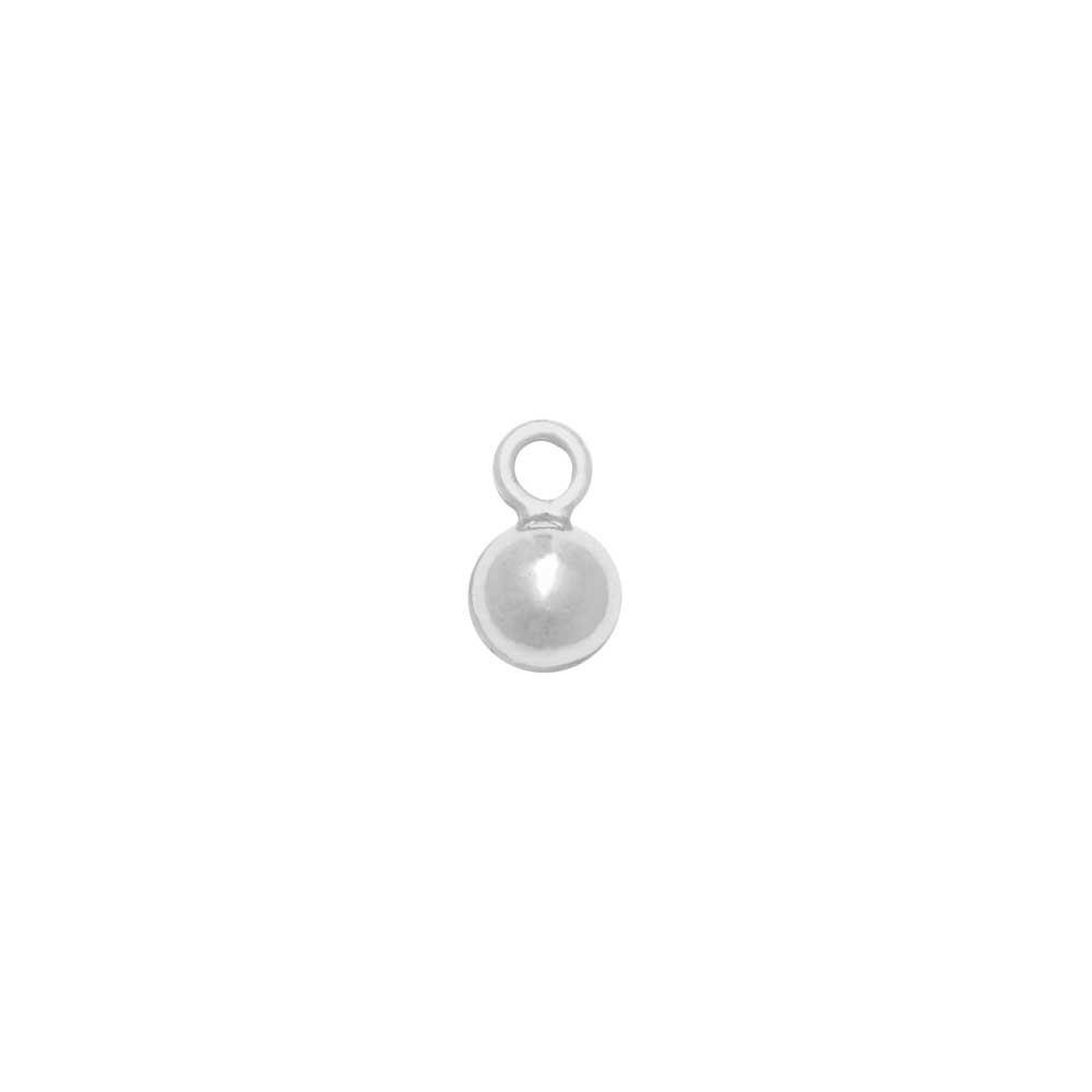 Sterling Silver Charm, Round Ball Drop with Loop 3mm, 2 Pieces