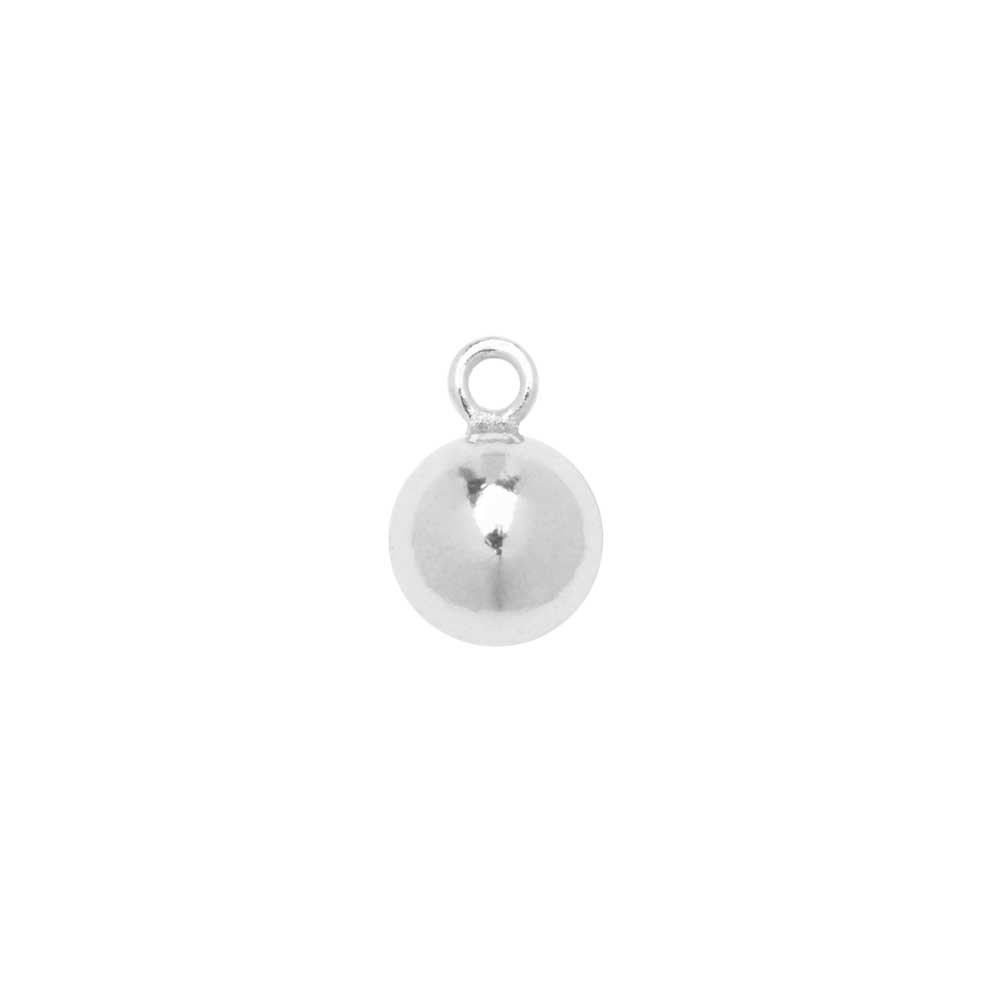 Sterling Silver Charm, Round Ball Drop with Loop 5mm, 2 Pieces