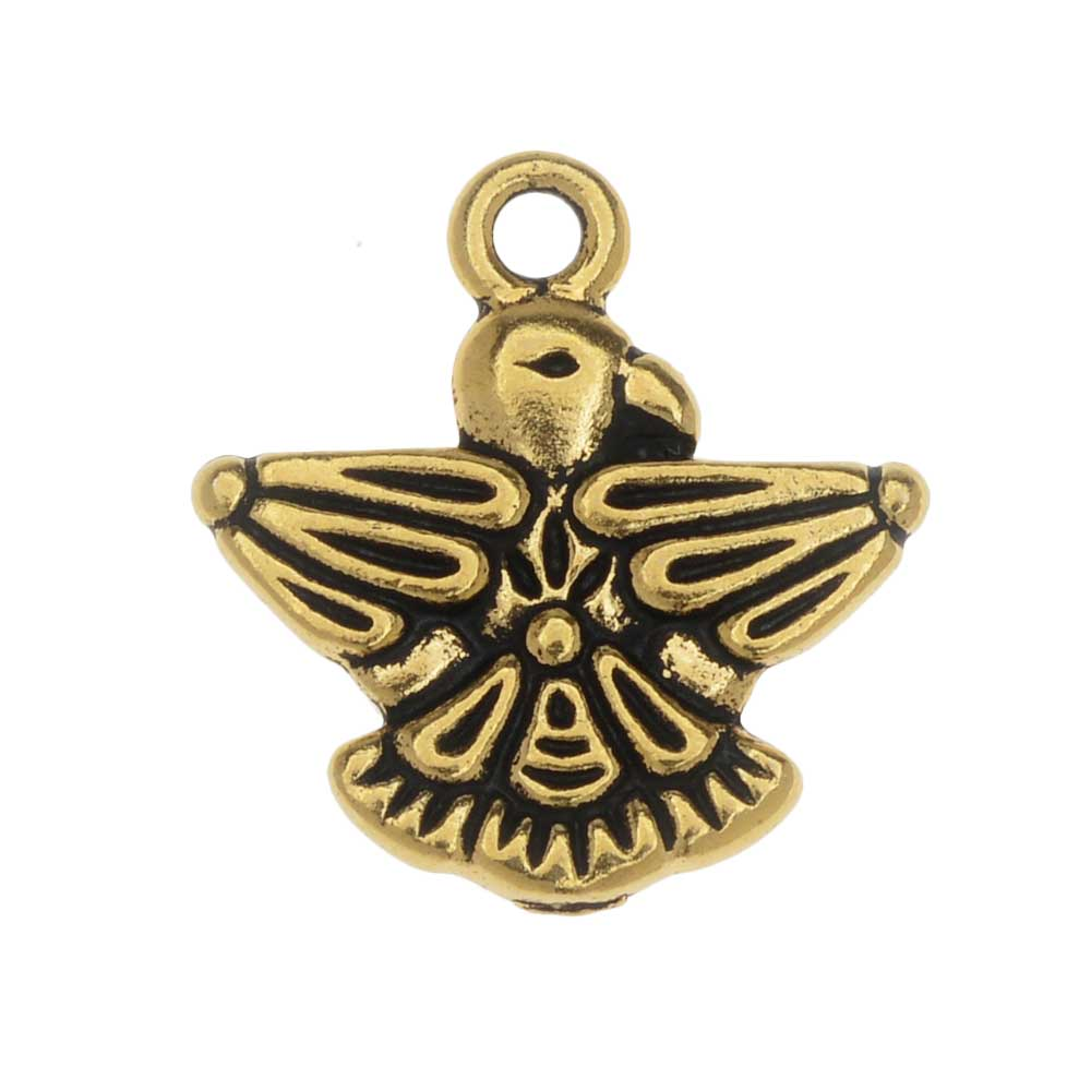 Final Sale - TierraCast Pewter Charm, Thunderbird 19mm, 1 Piece, Antiqued Gold Plated