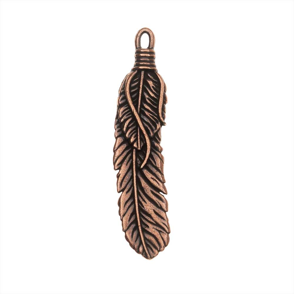 TierraCast Pewter Pendant, Southwestern Feather 48mm, 1 Piece, Antiqued Copper Plated