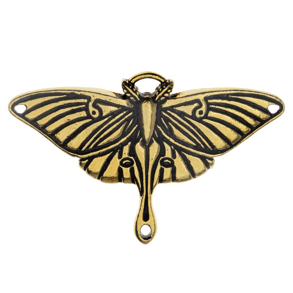 Pendant Link, Luna Moth 25.5x38.5mm, 1 Pendant, Antiqued Gold, By TierraCast