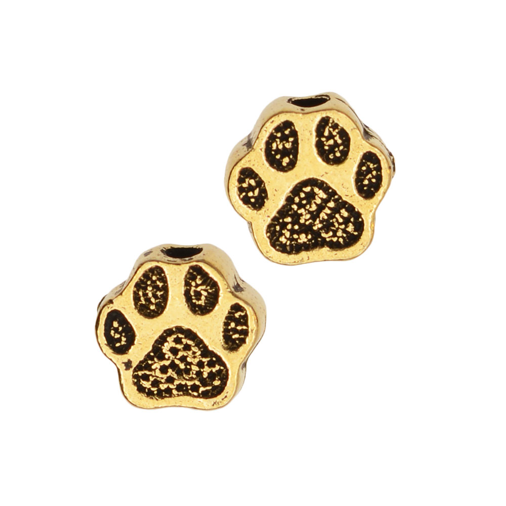 Pewter Bead, Pet Paw Print 6mm, 4 Pieces, Antiqued Gold, By TierraCast