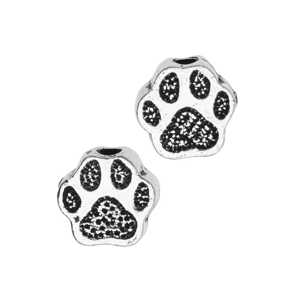 Pewter Bead, Pet Paw Print 6mm, 4 Pieces, Antiqued Silver, By TierraCast