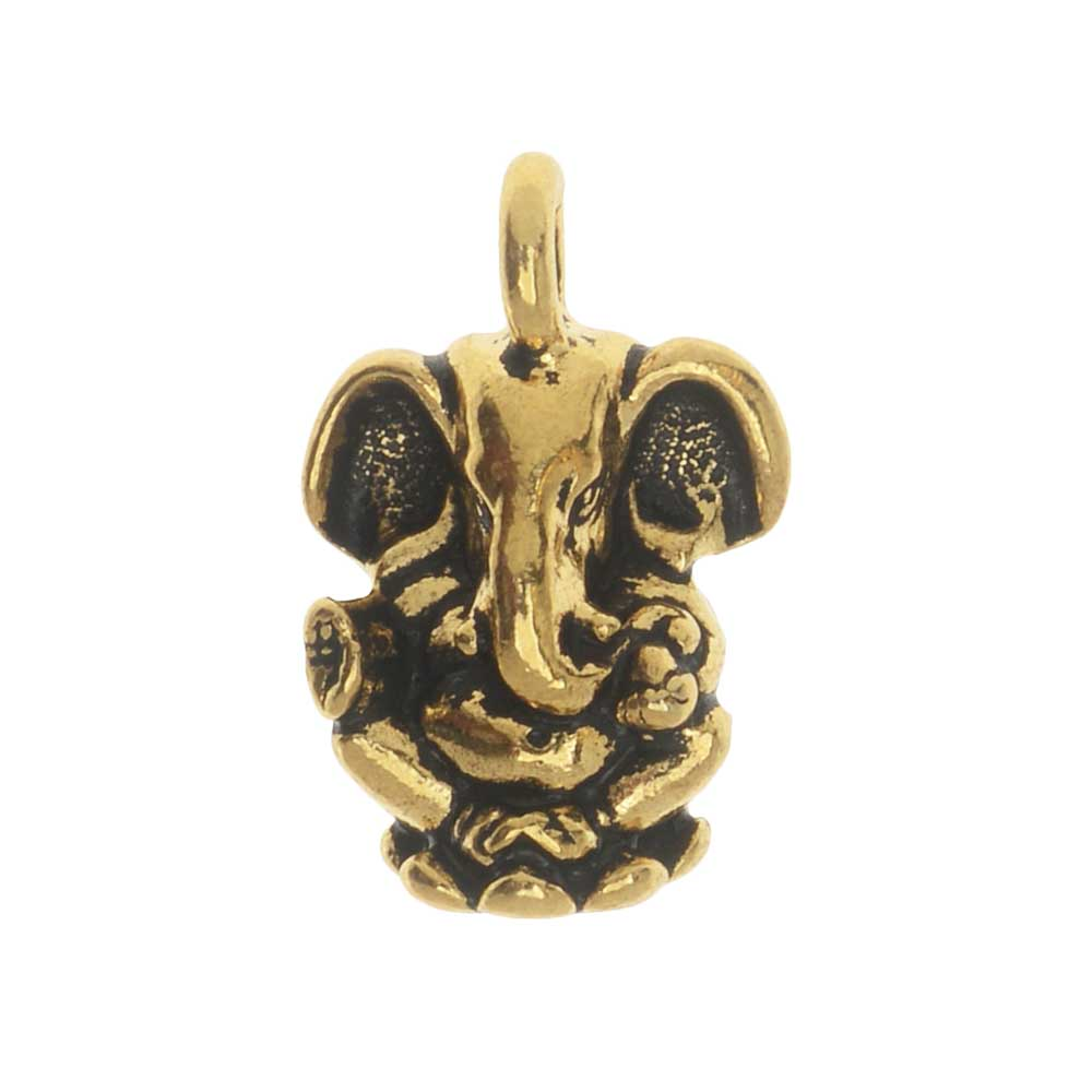 TierraCast Pewter Charm, Ganesh Elephant 18mm, 1 Piece, Antiqued Gold Plated