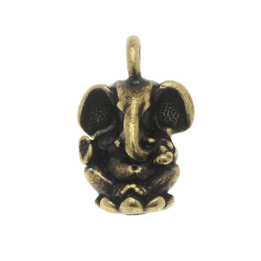 TierraCast Pewter Charm, Ganesh Elephant 18mm, 1 Piece, Brass Oxide