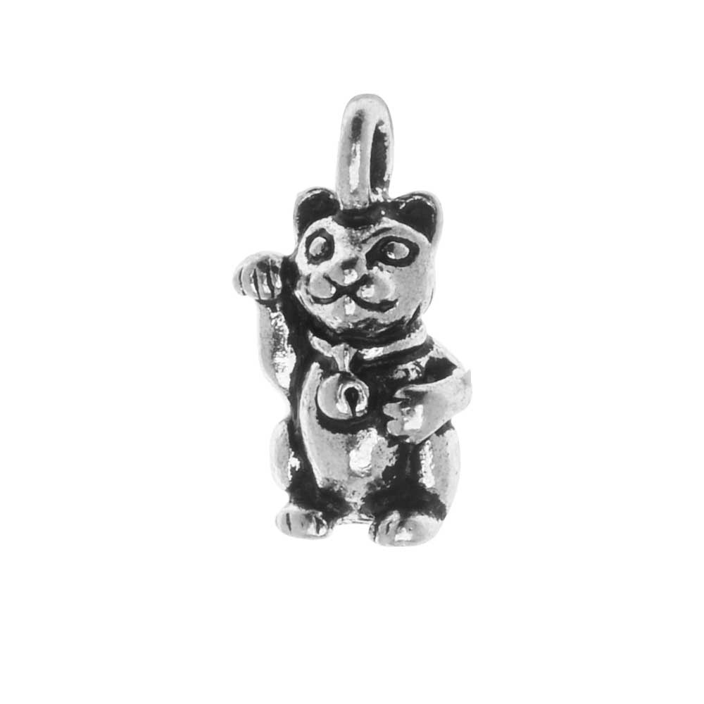 TierraCast Pewter Charm, Beckoning Kitty Cat with Loop 17mm, 1 Piece, Antiqued Silver Plated