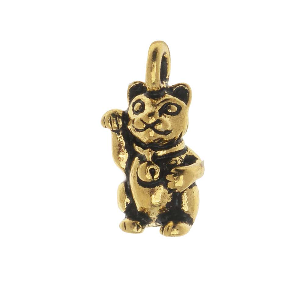 TierraCast Pewter Charm, Beckoning Kitty Cat with Loop 17mm, 1 Piece, Antiqued Gold Plated