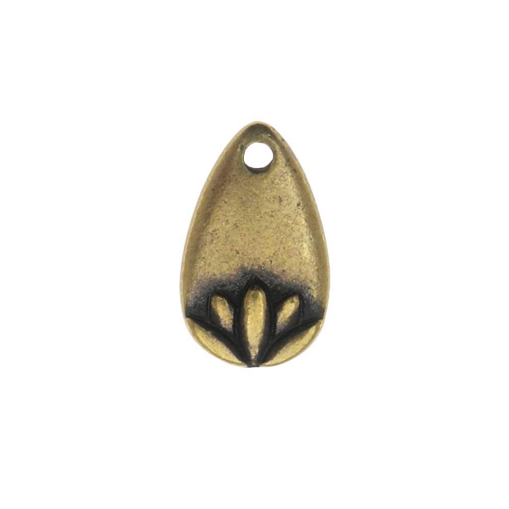 TierraCast Pewter Charm, Lotus Petal 13mm, 1 Piece, Brass Oxide