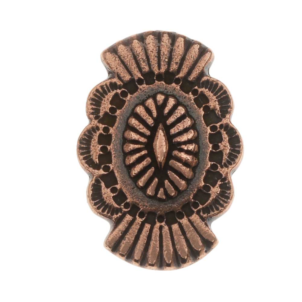 TierraCast Pewter Button, Oval with Southwestern Design 20x13.5mm, 1 Piece, Antiqued Copper Plated